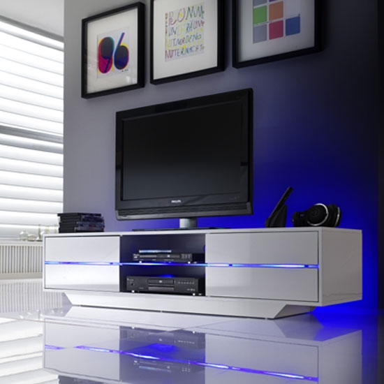 Excellent Variety Of High Gloss White TV Cabinets Regarding Best Bedroom Tv (View 31 of 50)