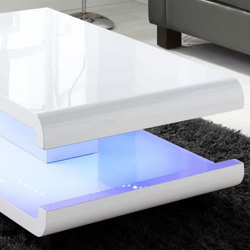 Excellent Variety Of Led Coffee Tables With Tiffany White High Gloss Coffee Table With Led Lighting Furniture (Image 16 of 50)