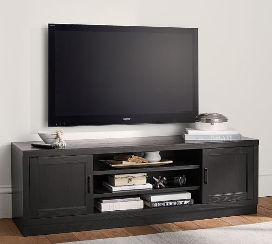 Excellent Variety Of Long Low TV Stands Intended For Reynolds Low Tv Stand Pottery Barn (View 5 of 50)