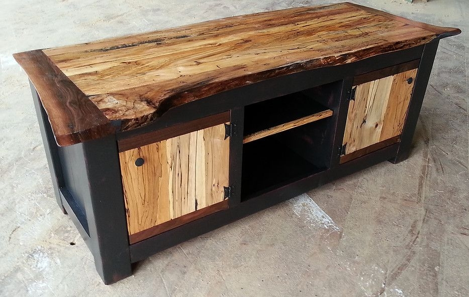 Excellent Variety Of Maple Wood TV Stands Throughout Custom Spalted Maple Live Edge Tv Stand Eduardo Custom (View 22 of 50)