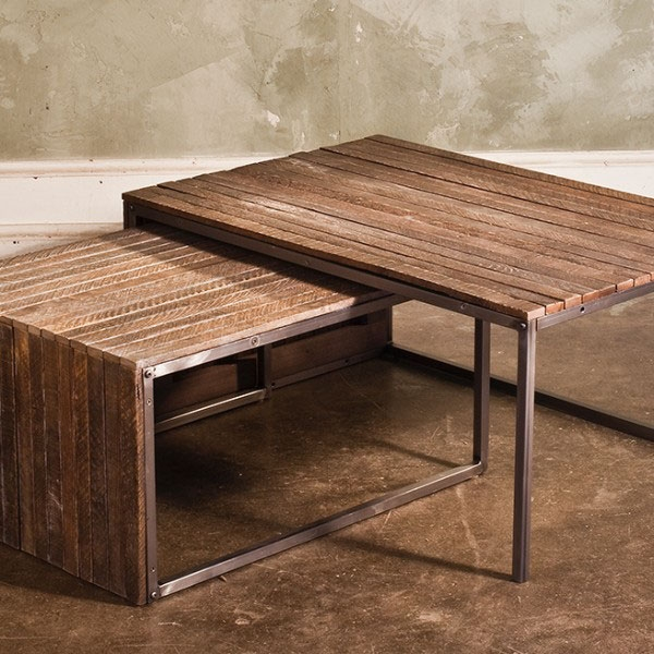 Excellent Variety Of Nest Coffee Tables Regarding Tobacco Lath Nesting Tables Ships Free Reclaimed Wood Tables (Image 10 of 50)