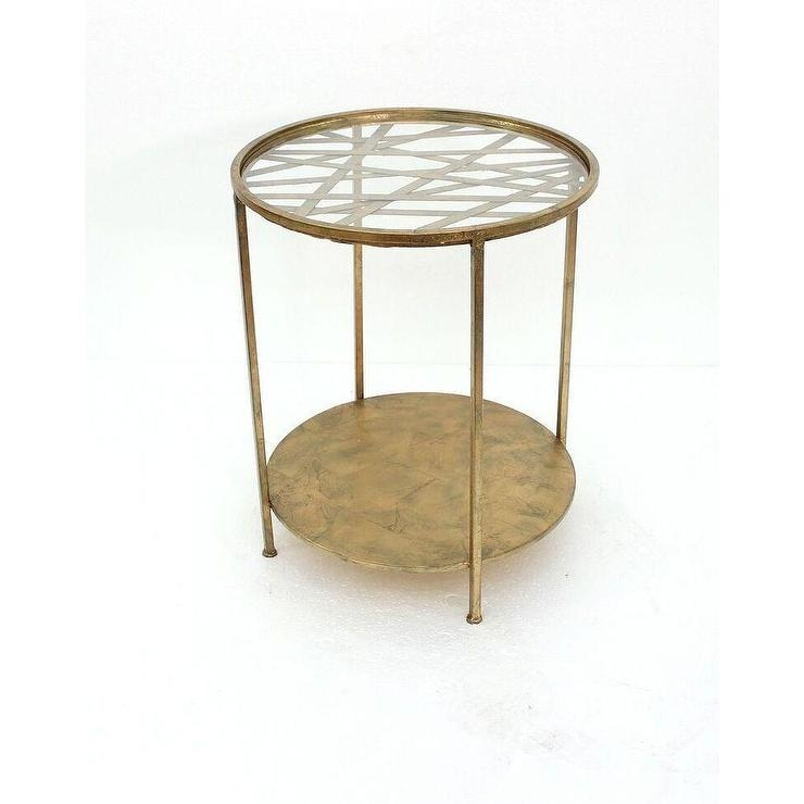 Excellent Variety Of Retro Glitz Glass Coffee Tables Throughout Home Round Glass Top Goldtone Metal End Table (Image 17 of 50)