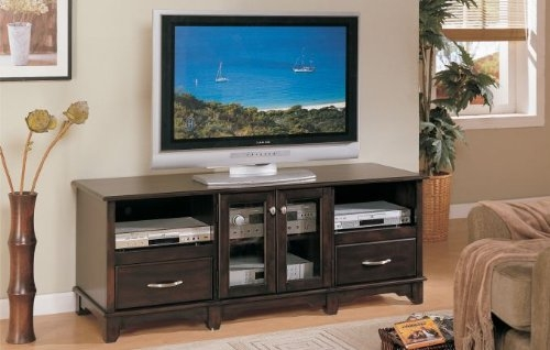 Excellent Variety Of TV Stands With Drawers And Shelves With Black Friday Buy Inland Empire Furniture Espresso Solid Wood Tv (Image 16 of 50)