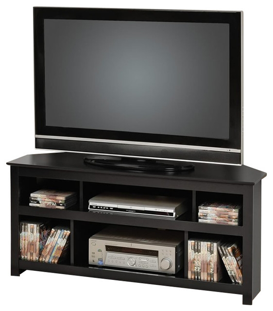 Excellent Well Known Black Corner TV Cabinets Pertaining To Prepac Vasari Flat Panel Plasma Lcd Corner Tv Stand In Black (View 27 of 50)