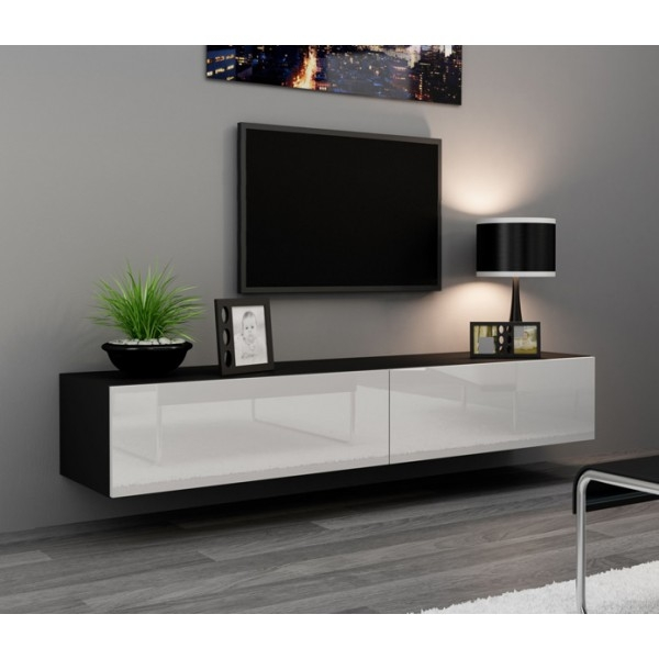 Excellent Wellknown Black TV Cabinets With Doors Within Tv Stands New Released 2017 Thin Tv Stands Small Corner Tv (Image 19 of 50)