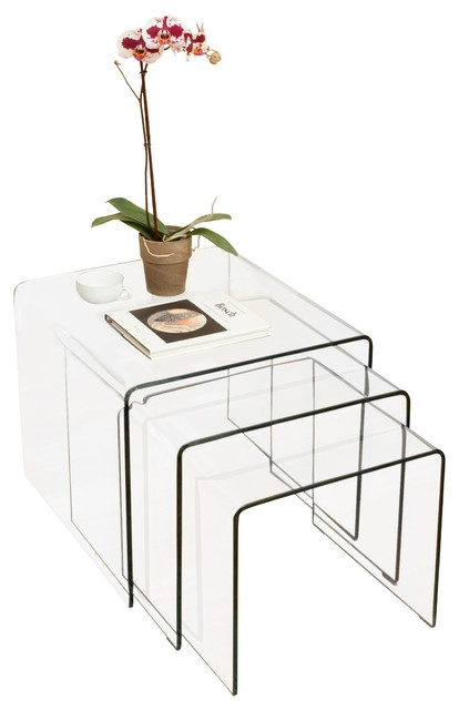 Excellent Wellknown Coffee Tables And Side Table Sets Pertaining To Charlize Glass Coffee Tables 3 Piece Set Modern Side Tables (Image 20 of 50)