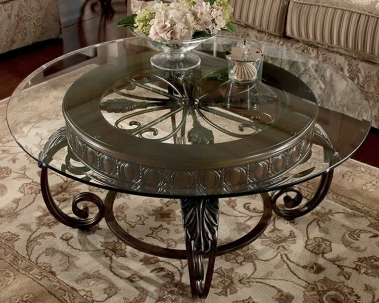 Excellent Wellknown Coffee Tables Metal And Glass Regarding Dining Room Great Round Metal And Glass Coffee Table (Image 16 of 40)