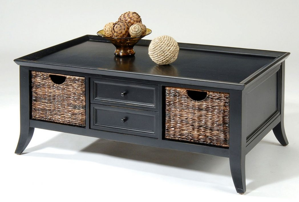 Excellent Well Known Coffee Tables With Baskets Underneath Throughout Side End Coffee Table Stand Wooden Storage 3 Baskets Furniture (Image 10 of 40)
