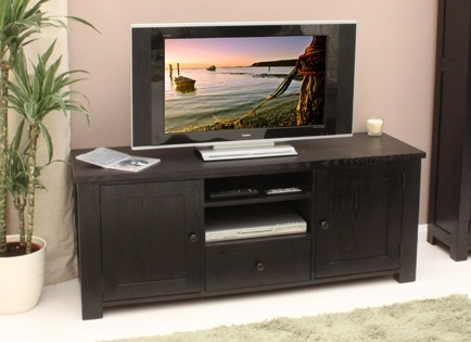 Excellent Wellknown Dark Wood TV Cabinets Regarding Dark Wood Tv Cabinet With Drawer For Dvd Storage Home Interiors (Image 16 of 50)