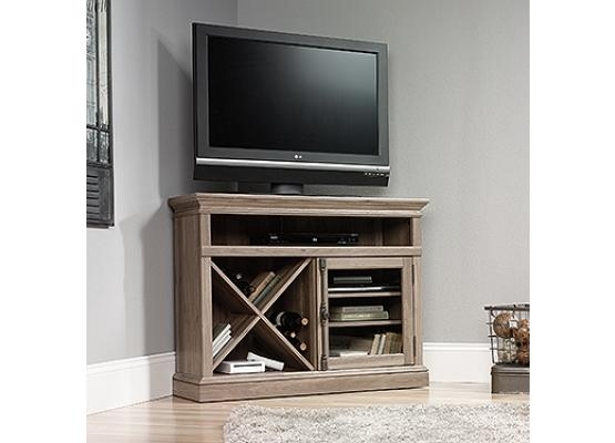 Excellent Well Known Lane TV Stands With Regard To Sauder Barrister Lane Salt Oak Corner Tv Stand (View 29 of 50)