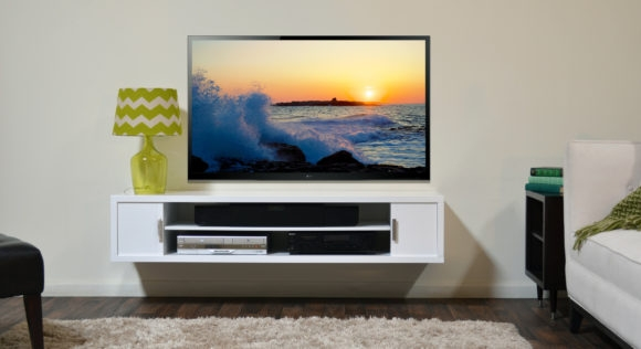 Excellent Wellknown Led TV Cabinets Pertaining To Furniture White Wooden Wall Mount Tv Cabinets With Shelves And (Image 17 of 50)