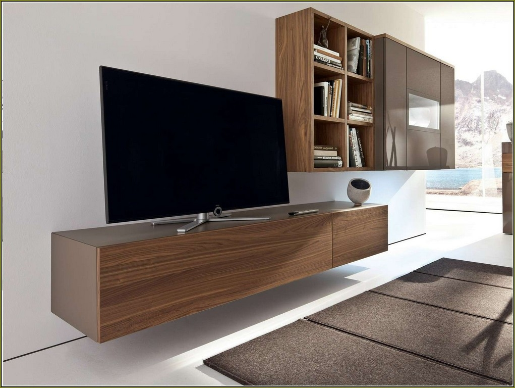 Excellent Well Known Long TV Cabinets Furniture In Furniture Under Tv Shelf Long Rectangle Brown Wooden Floating Tv (View 30 of 50)