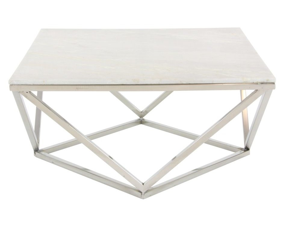 Excellent Wellknown Marble And Metal Coffee Tables With Cole Grey Stainless Steelmarble Square Coffee Table Reviews (Image 20 of 40)