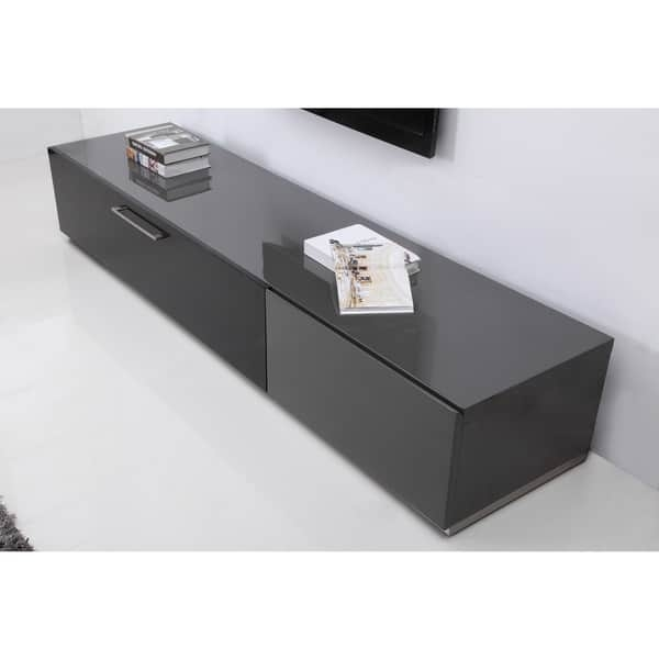 Excellent Wellknown Modern Black TV Stands With B Modern Producer Grey Black Steel Modern Tv Stand With Ir Glass (View 5 of 50)