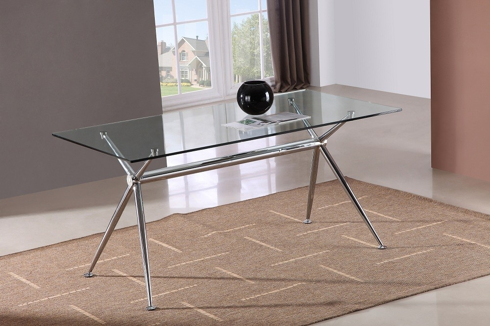 Excellent Well Known Rectangle Glass Chrome Coffee Tables In Rectangular Glass Dining Table 120cm Rectangular Glass Dining (Image 18 of 50)