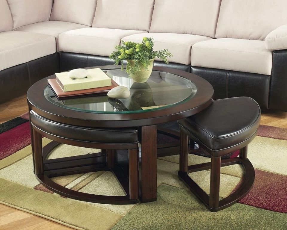 Excellent Well Known Round Glass And Wood Coffee Tables Within Furniture Round Wood Coffee Table With Glass Top Decorating (View 47 of 50)
