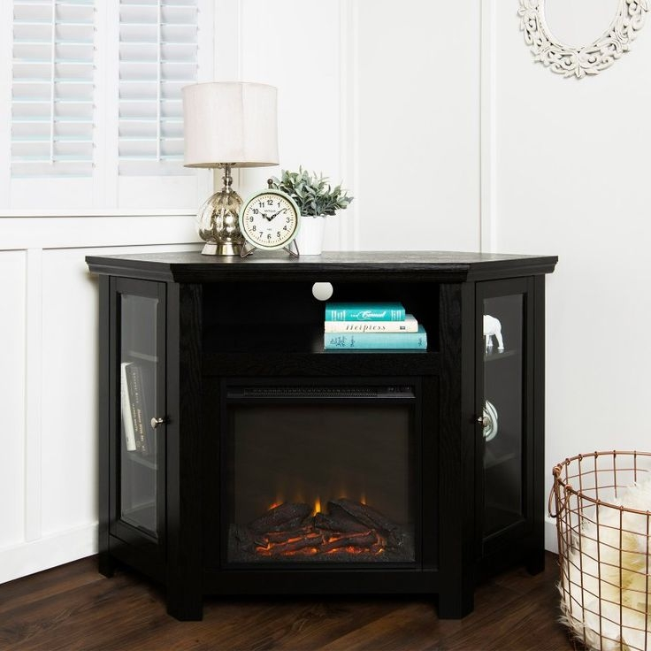 Excellent Wellknown Silver Corner TV Stands In Tv Stands Glamorous Electric Corner Fireplace Tv Stand  (Image 21 of 50)