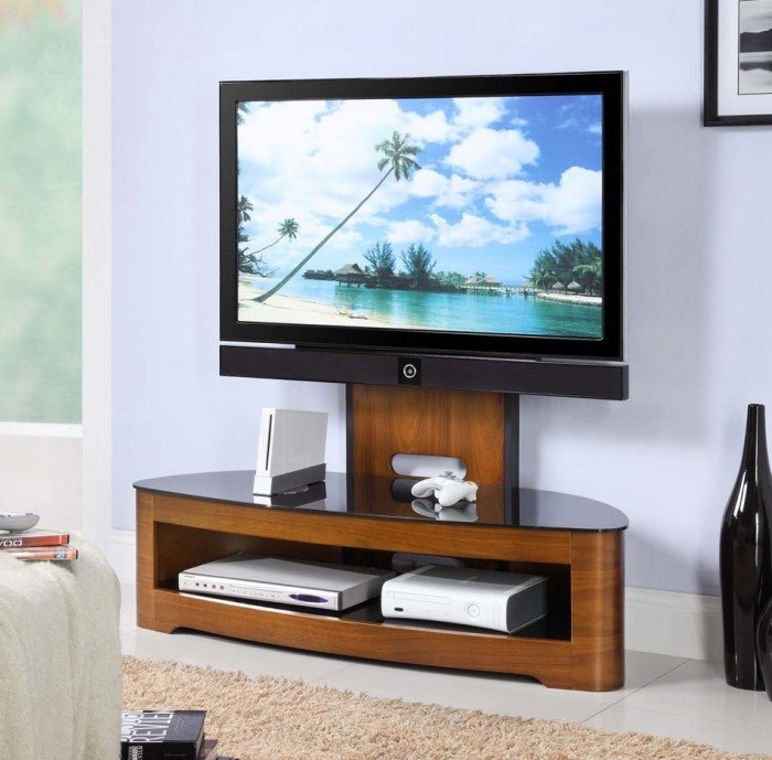 Excellent Wellknown TV Stands Cantilever Regarding Curve Jf209 Walnut Cantilever Tv Stand (Image 10 of 50)