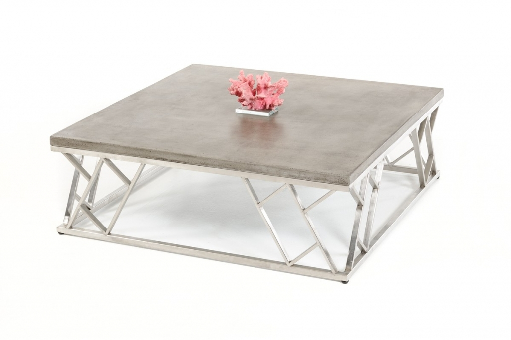 Excellent Wellliked Chrome And Wood Coffee Tables Throughout Concrete Chrome Coffee Table Modern Furniture Brickell Collection (Image 13 of 50)