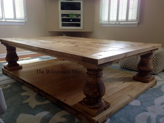 Excellent Wellliked Chunky Wood Coffee Tables Regarding 60x40x19 Canyon Brown Salvage Wood Finish Balustrade Coffee (Image 15 of 50)