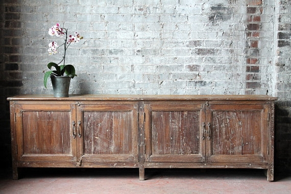 Excellent Wellliked Low Long TV Stands Pertaining To Living Room Brilliant Long And Low Reclaimed Antique Sideboard (View 34 of 50)
