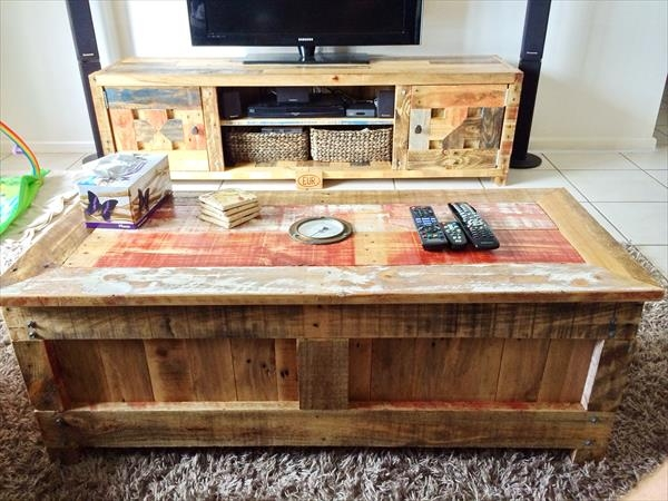 Excellent Wellliked Matching Tv Unit And Coffee Tables Throughout Pallet Coffee Table With Matching Tv Cabinet Wooden Pallet Furniture (Image 14 of 40)