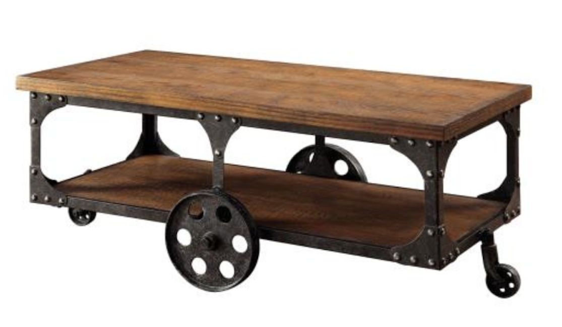 Excellent Wellliked Rustic Coffee Table And TV Stands Pertaining To Industrial Coffee Table Utility Cart Storage Console Rustic Wood (Image 19 of 50)
