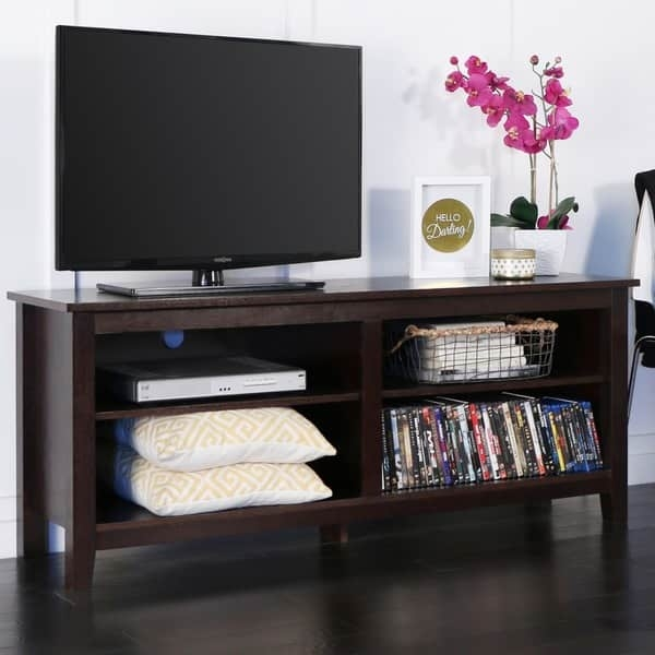 Excellent Wellliked Wood TV Stands Within 58 Inch Espresso Wood Tv Stand Free Shipping Today Overstock (Image 22 of 50)