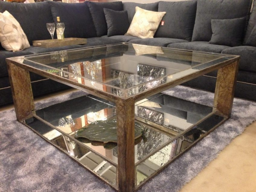 Excellent Widely Used Antique Mirrored Coffee Tables Regarding Gold Mirrored Coffee Table Harpsoundsco (Image 14 of 40)