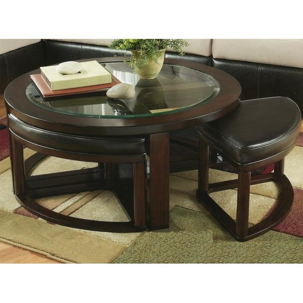 Excellent Widely Used Coffee Tables With Nesting Stools With Red Barrel Studio Plumwood Coffee Table With Nested Stools (Image 22 of 50)