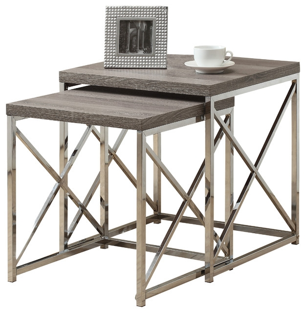 Excellent Widely Used Contemporary Coffee Table Sets Pertaining To Nesting Table 2 Piece Set Cappuccino With Chrome Metal (Image 13 of 50)
