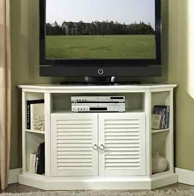 Excellent Widely Used Corner TV Stands Intended For Corner Tv Stand White Storage Media Cabinet Wood Black Shelves (Image 15 of 50)
