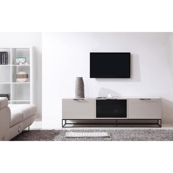 Excellent Widely Used Cream Gloss TV Stands Inside B Modern Animator High Gloss Cream Black Modern Ir Tv Stand (View 40 of 50)