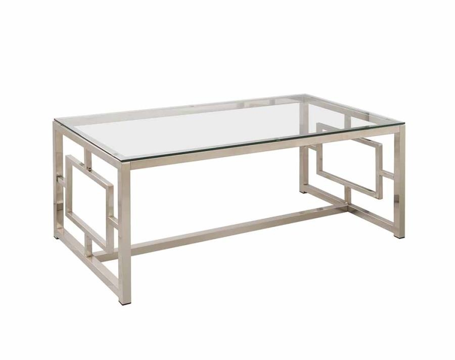 Excellent Widely Used Glass Metal Coffee Tables Regarding Modern Glass Metal Coffee Table Living Room Contemporary (Photo 4 of 50)
