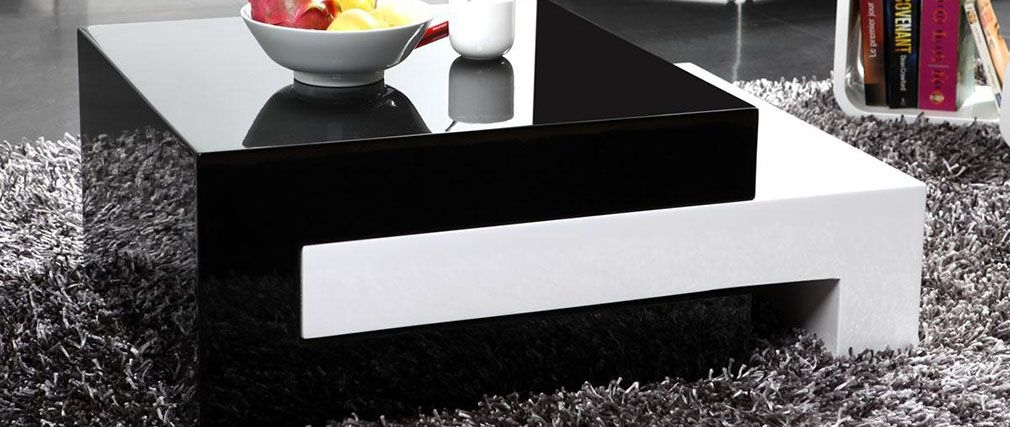 Excellent Widely Used Luna Coffee Tables For Luna Glossy Modern Extending Coffee Table Miliboo (Image 15 of 40)