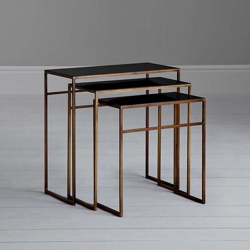 Excellent Widely Used Nest Coffee Tables Throughout Black And Brass Nest Of Coffee Tables Mad About The House (Image 12 of 50)