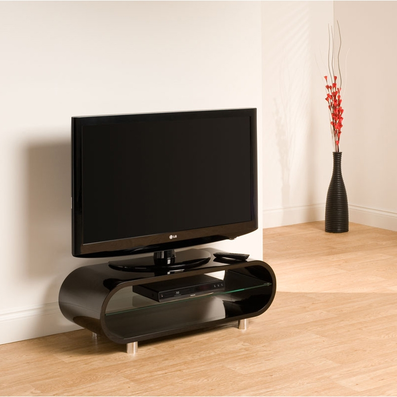 Excellent Widely Used Ovid TV Stands Black Within Techlink Ov95b Ovid 37 Tv Stand In Piano Black (Image 16 of 50)