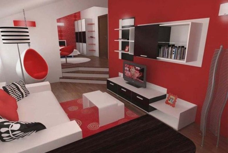Excellent Widely Used Red Gloss TV Stands With Red And Grey Living Room Round Brown Lacquered Wood Coffee Table (View 49 of 50)