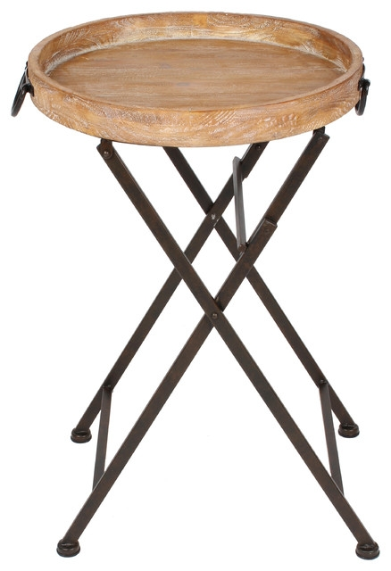 Excellent Widely Used Round Tray Coffee Tables With Marmora Round Tray Table Black Metal And Rustic Wood Farmhouse (Image 17 of 50)