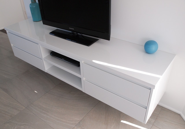 Excellent Widely Used White Gloss TV Cabinets Regarding White Gloss Polyurethane Floating Tv Cabinet With Shadowline Drawers (Image 16 of 50)