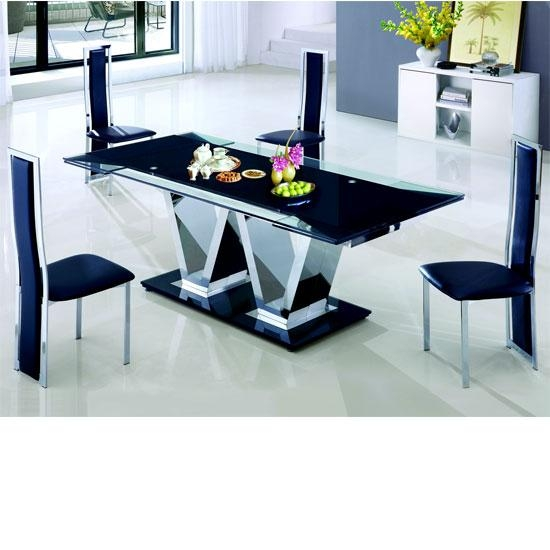 Extendable Glass Dining Table Grace Blackchintaly Larger Image With Extending Dining Tables And 8 Chairs (Image 10 of 20)