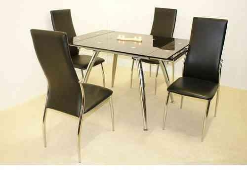 Extending Dining Table And Chairs, Glass, High Gloss – Homegenies With Regard To Extendable Dining Table And 4 Chairs (Image 7 of 20)