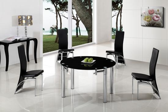 Extending Dining Table In Black Glass With Chrome Regarding Glass Round Extending Dining Tables (View 14 of 20)