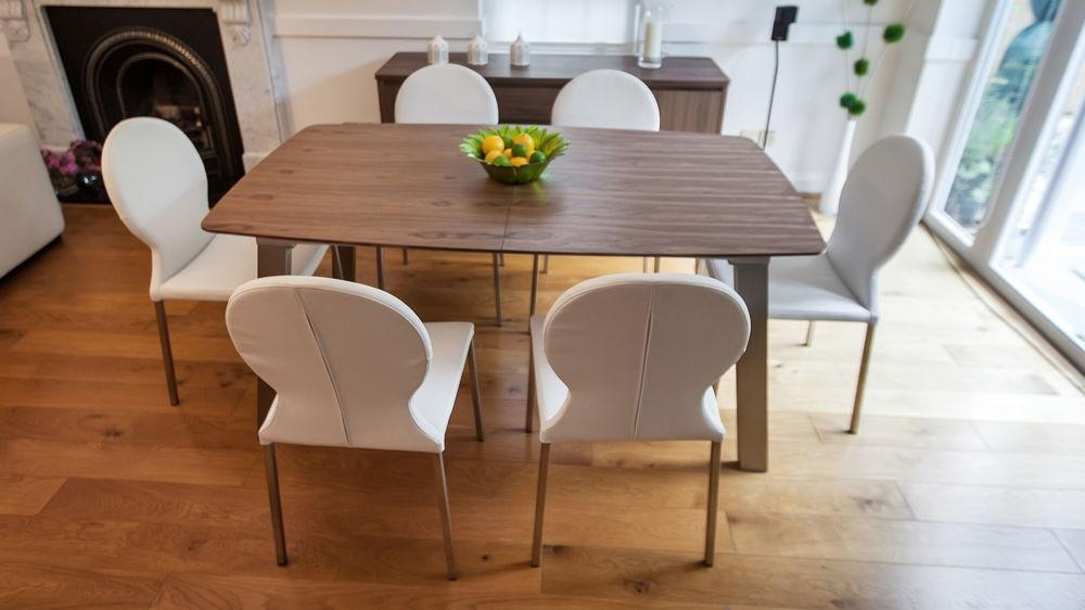 Extending Trendy Walnut Dining Table And Chairs | Brushed Metal Legs For Walnut Dining Table Sets (View 2 of 21)