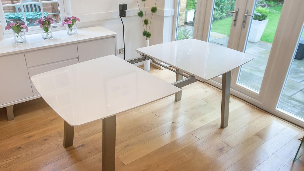 Extending White Gloss Dining Table | Seats 8 | Brushed Metal Within Contemporary Extending Dining Tables (Image 11 of 20)