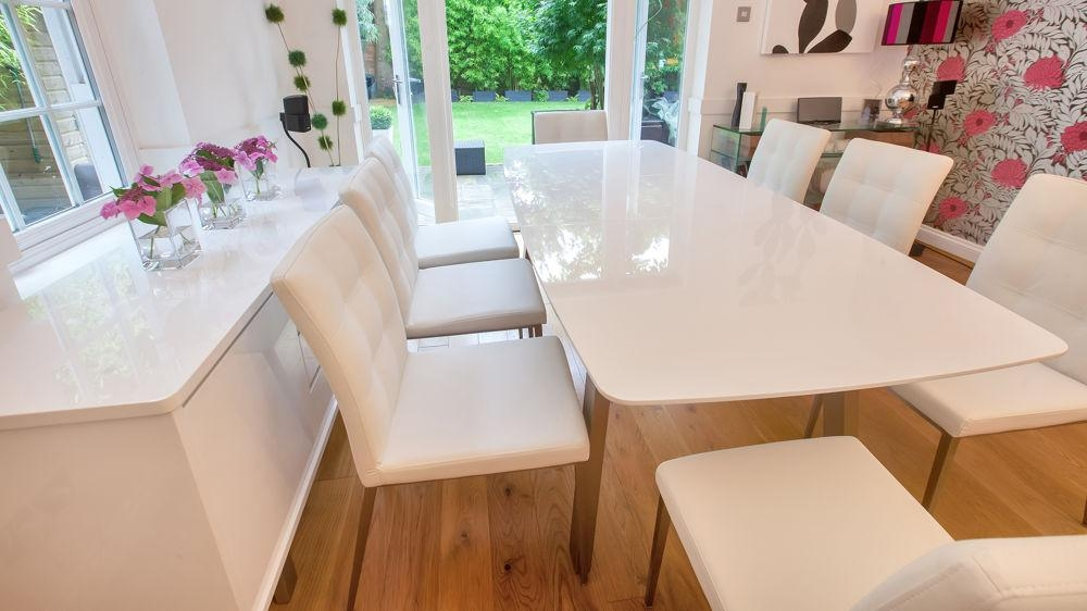 Extending White High Gloss Dining Set | Seats 8 | Quilted Faux With Regard To Extending White Gloss Dining Tables (View 18 of 20)