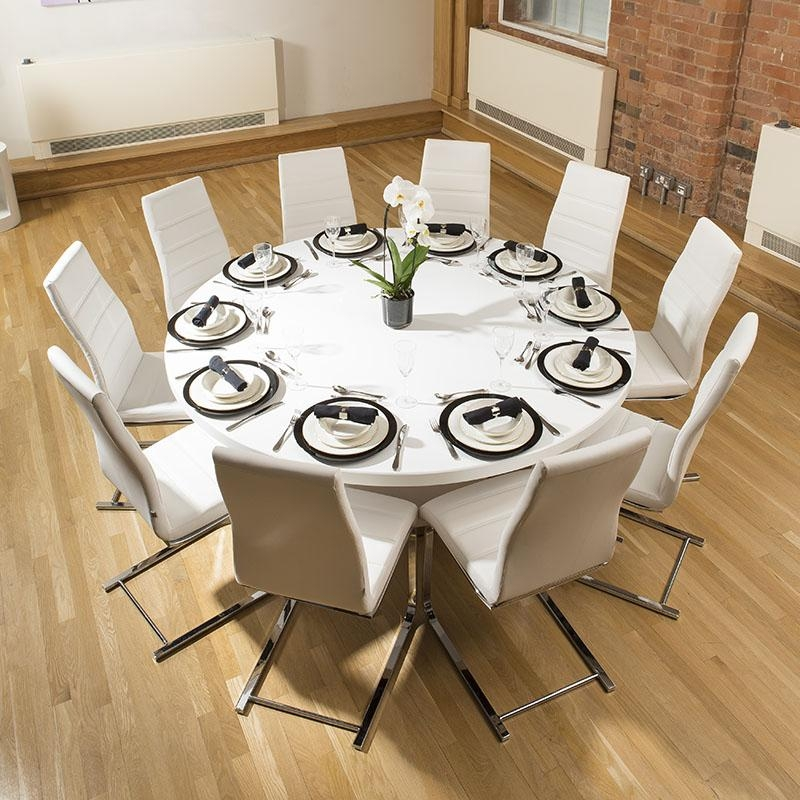 Extra Large Round Gloss White Corian Solid Surface Dining Table Throughout Large White Round Dining Tables (Image 8 of 20)