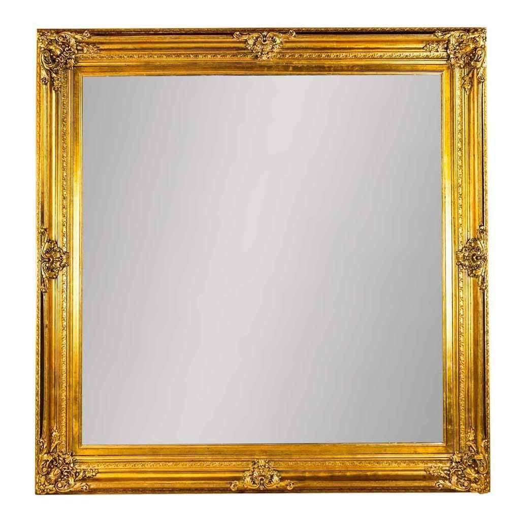Extra Large Square Ornate Mirror In Goldout There Interiors In Square Gold Mirror (Image 5 of 20)