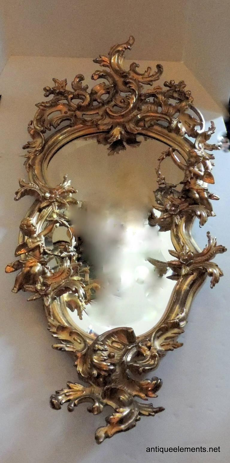 Extraordinary 19Th Century French Carved And Gilt Cherub Rococo Intended For Roccoco Mirror (Image 11 of 20)