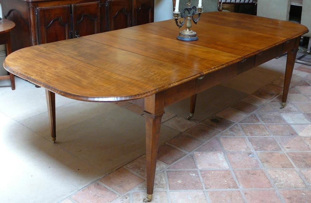 "Extremely Rare 19Th Century"" Curly Maple"" Extending Dining Table Throughout Drop Leaf Extendable Dining Tables (Image 12 of 20)"